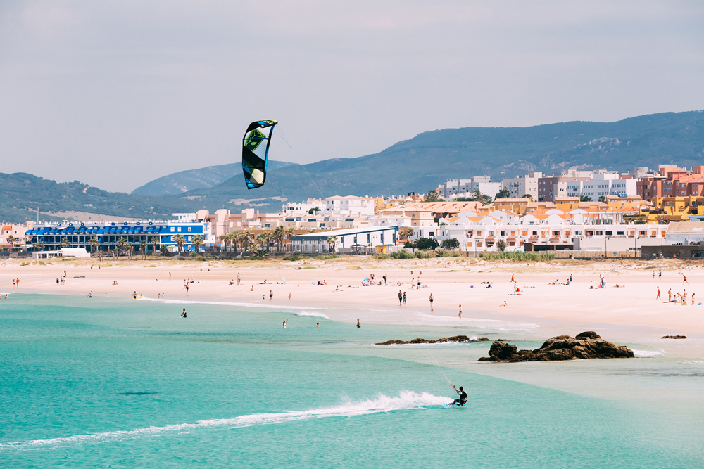 Kite surfing in Tarifa, Spain. Tarifa is most popular places in
