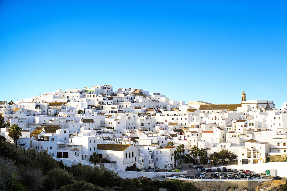 Landscape Of A White Town, Vejer De La Frontera In Andalusia, Sp